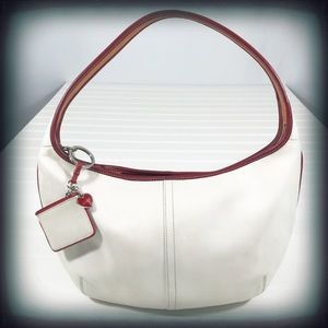 Coach White with Red Piping Hobo Bag EUC